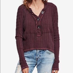 FREE PEOPLE MAGIC BERRY MIX HENLEY TOP